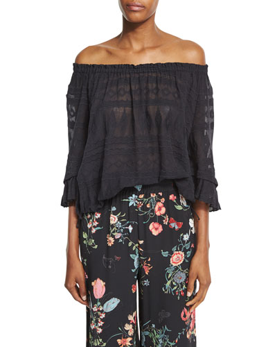 Sheer Embroidered Gauze-Knit Top, Black
