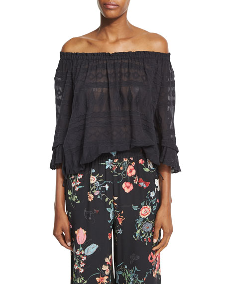 Rebecca Taylor Sheer Embroidered Gauze-Knit Top, Black