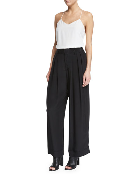 Costume National Pleated-Front Wide-Leg Trousers, Black