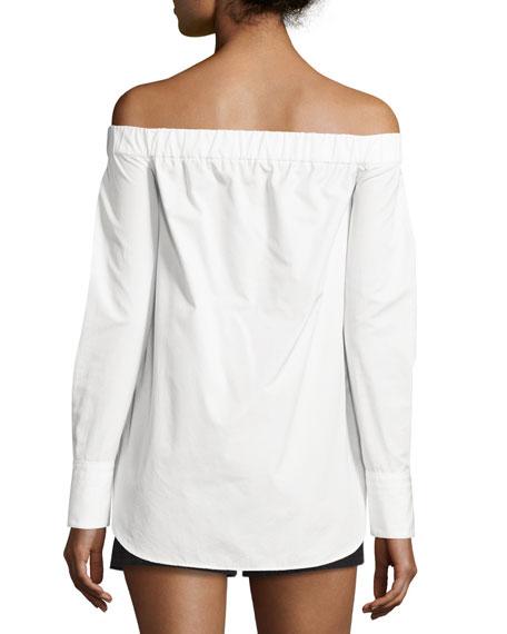 Kacy Reversible Poplin Off-the-Shoulder Tunic, White