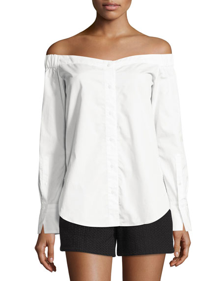 Rag & Bone Kacy Reversible Poplin Off-the-Shoulder Tunic,
