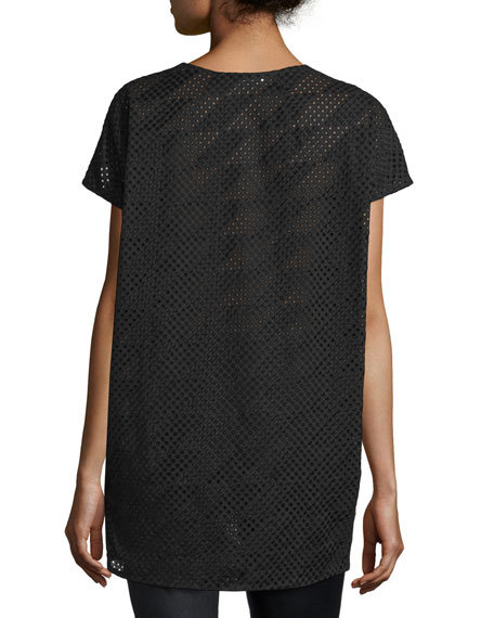 Short-Sleeve Mesh Tunic, Black
