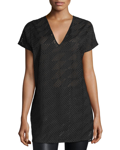 Short-Sleeve Mesh Tunic, Black