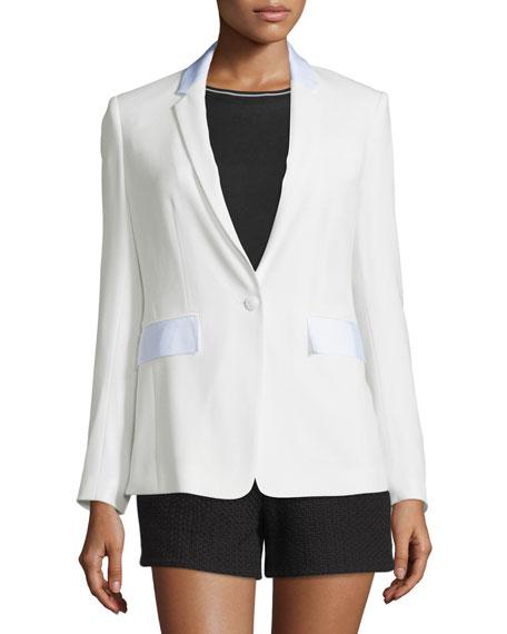 Windsor Crepe Contrast-Trim Blazer, White