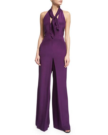 Halter-Neck Wide-Leg Jumpsuit, Purple