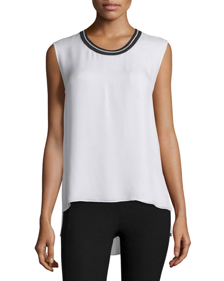 Rag & Bone Romy Silk Tank w/ Tipped