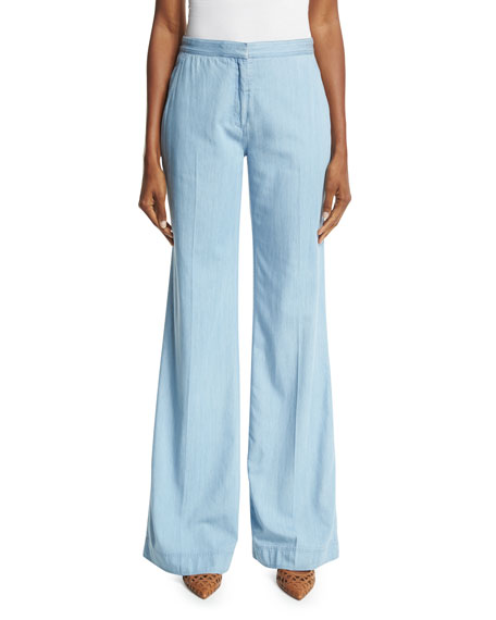 Diane von Furstenberg Katara Wide-Leg Chambray Pants, Light