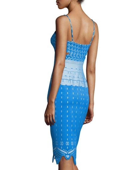 Sleeveless Cutout Sheath Dress, Blue