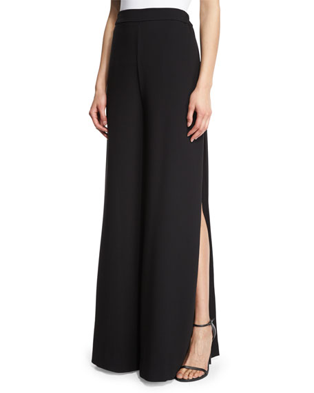 Side-Slit Wide-Leg Pants, Black