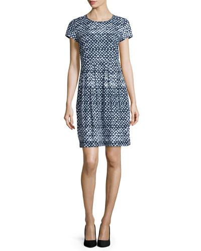 Gina Short-Sleeve Geometric-Print Dress, Ink Multi