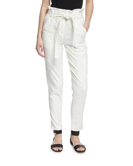 A.L.C. Lee Cropped Paperbag-Waist Pants, White