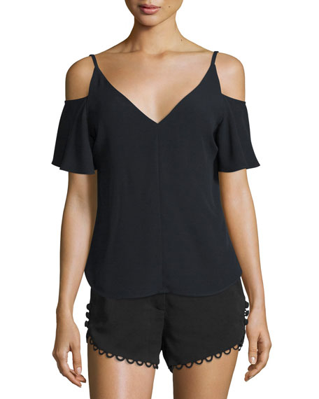 A.L.C. Olivia Crepe Cold-Shoulder Top, Black