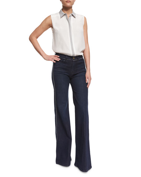 FRAME Le Capri Piping Wide-Leg Jeans, Shore