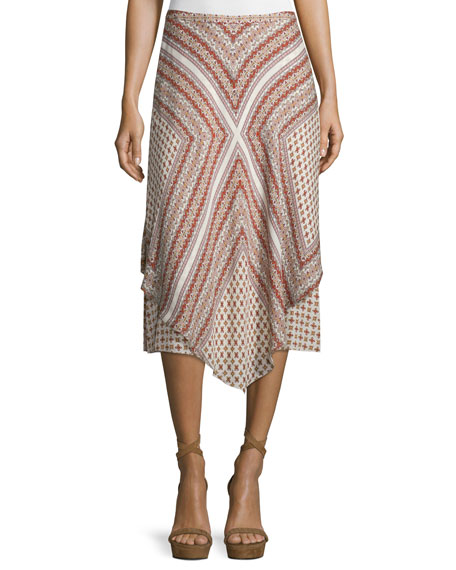 Mitered Multipattern Handkerchief Midi Skirt, Cream/Multicolor