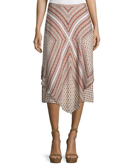 Mitered Multipattern Handkerchief Midi Skirt, Cream/Multicolor