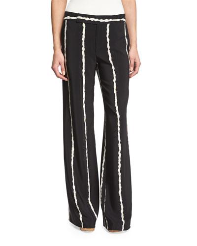 Striped Silk Wide-Leg Trousers, Black
