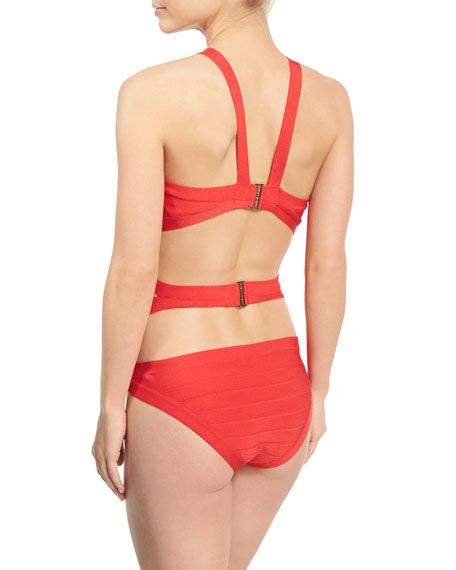 Cutout Bandage One-Piece Swimsuit, Coral Poppy