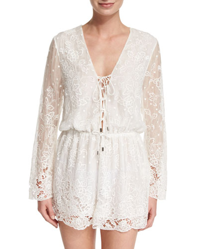 Roza Embroidered-Lace Veil Playsuit