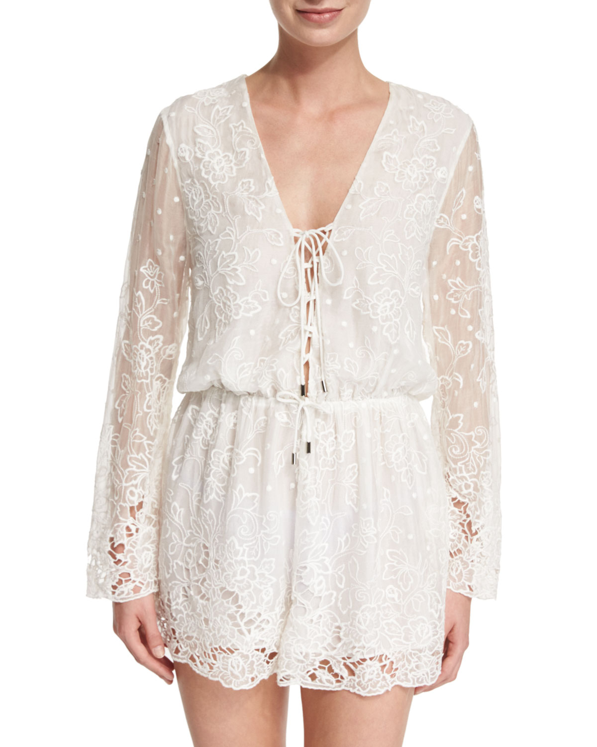 93ebb3734b Zimmermann Roza Embroidered-Lace Veil Playsuit