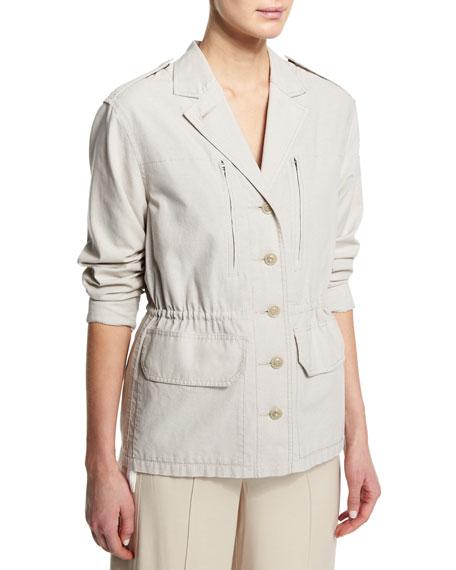 Cotton Button-Front Field Jacket, Dust