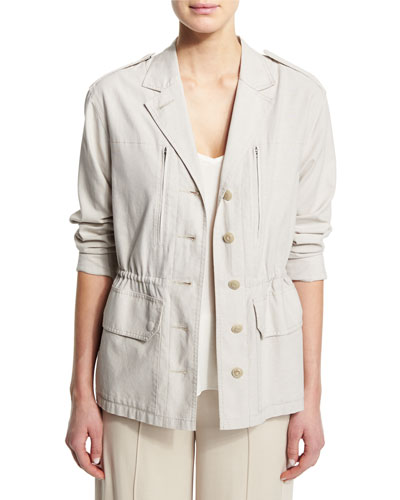 Cotton Button-Front Field Jacket, Dust