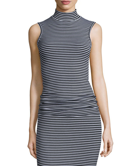 ATM Anthony Thomas Melillo Striped Sleeveless Fitted Mock-Neck