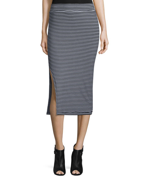 ATM Anthony Thomas Melillo Striped Ribbed Pencil Skirt,
