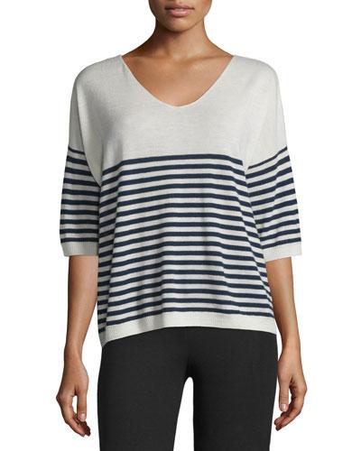 Striped Cashmere V-Neck Sweater, Ecru/Midnight