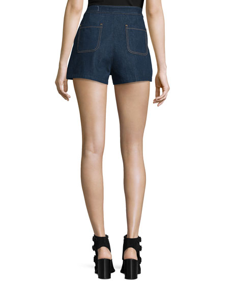 High-Rise Lace-Up Denim Shorts, Resin