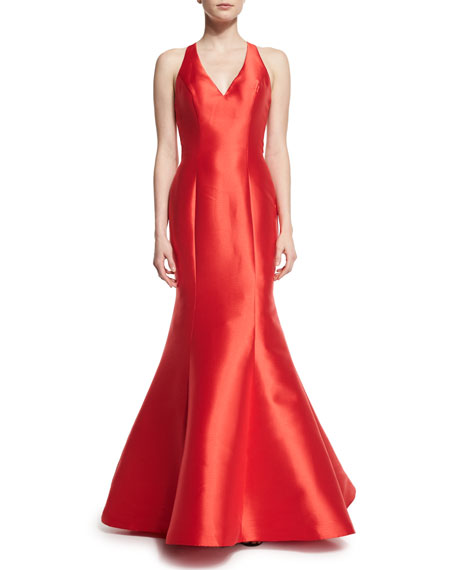 Jovani Sleeveless Ruffled-Back Mermaid Gown, Red
