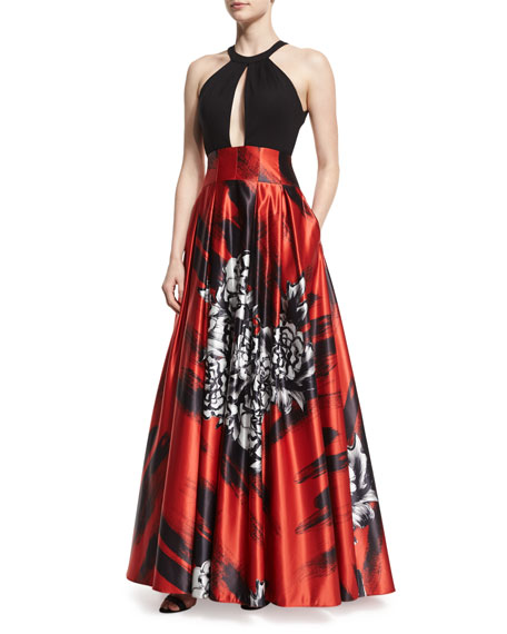 JovaniSleeveless Keyhole Floral-Print Combo Gown