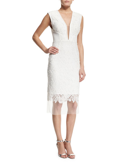 Jovani Sleeveless Deep-V-Neck Lace Cocktail Dress