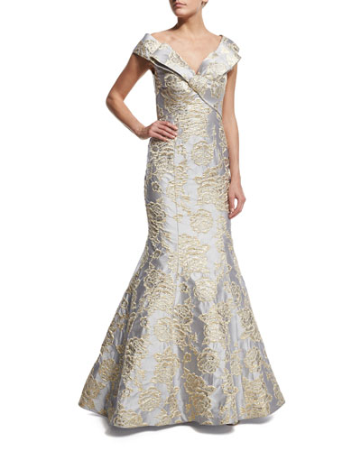 Cap-Sleeve Bow-Front Embroidered Mermaid Gown
