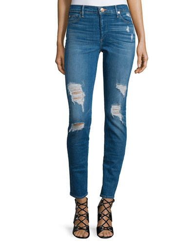 Halle Super-Skinny Distressed Jeans, Bowie Blue