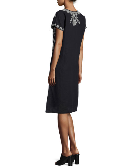 Jolina Easy-Fit Embroidered Dress, Black, Plus Size