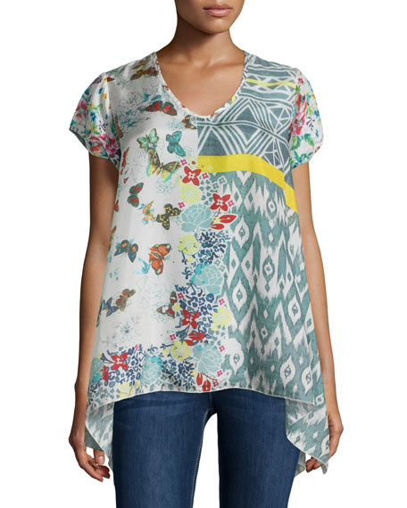 Ray Flare V-Neck Printed Tunic, Multi Colors, Plus Size