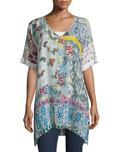 Butterfly Half-Sleeve Printed Silk Tunic, Multi Colors