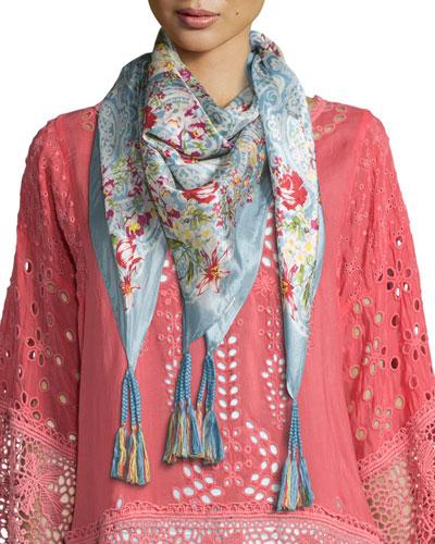 Belletini Printed Silk Tassel Scarf