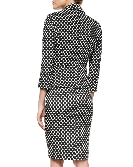 Polka-Dot Peplum Jacket & Skirt Suit Set