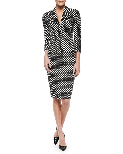 Polka-Dot Peplum Jacket & Skirt Suit Set