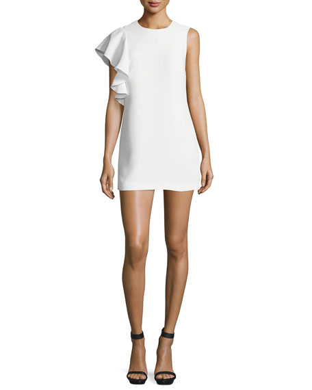Elizabeth and James Luca Crepe Ruffle-Trim Mini Dress,