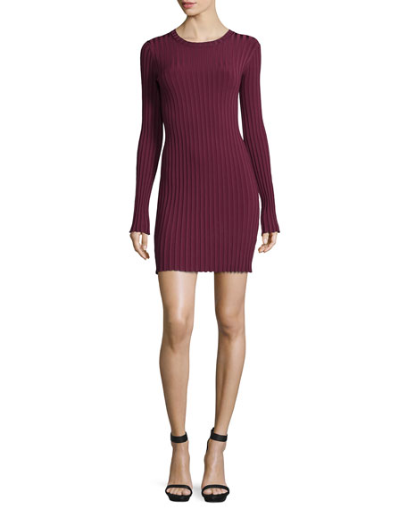 Elizabeth and James Penny Long-Sleeve Ribbed Bodycon Dress,