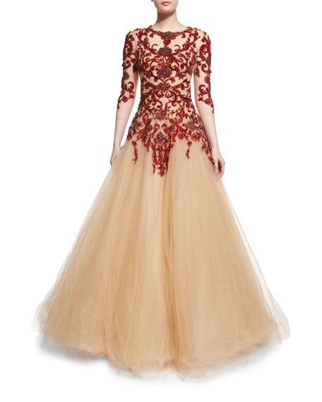 Floral-Embellished Illusion Ball Gown, Scarlet