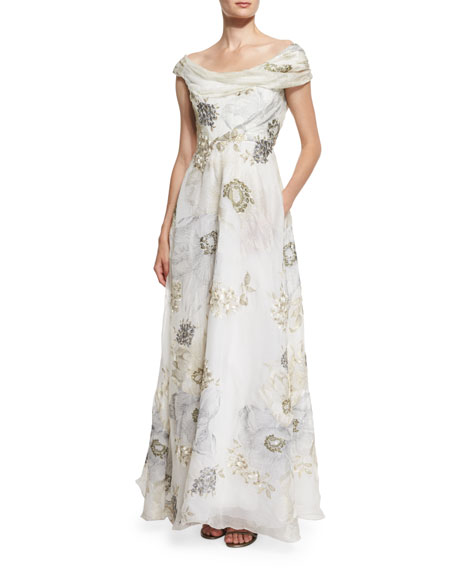 Marchesa Off-The-Shoulder Floral-Print Gown, Ivory Metallic