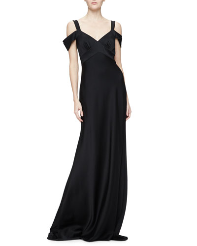 Cold-Shoulder Open-Back Gown