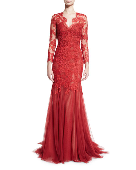 Lace & Tulle V-Neck Mermaid Gown, Dark Red