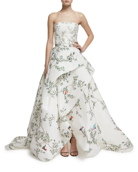 Monique Lhuillier Strapless Bird-Print Silk Gazar Gown,