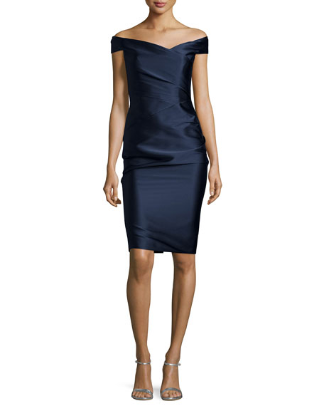 Monique Lhuillier Off-The-Shoulder Cocktail Dress, Navy
