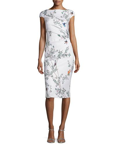 Jacquard Bird-Print Draped Sheath Dress, White