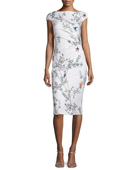 Monique Lhuillier Jacquard Bird-Print Draped Sheath Dress, White